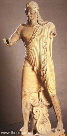 """Apollo of Veii; from the rooftop of the Temple of Apollo at Veii (near Rome); c. 515-490 BC; Painted terra-cotta; Height 69""""; He has geometrically related pleats in his robes, which was also seen in ancient Greek reliefs."""
