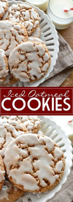 Really easy and delicious. Use high quality cinnamon for a great flavor. Delicious with and without icing. These are even better the next day once the icing has had a chance to harden a bit. Cookies with icing Iced Oatmeal Cookies Cookie Desserts, Just Desserts, Delicious Desserts, Dessert Recipes, Yummy Food, Tasty, Baking Desserts, Yummy Cookies, Yummy Treats