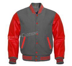 Letterman Baseball Varsity Jacket in Dark Grey Wool Genuine Red Leather Sleeves Royal Shop, Letterman Jackets, Leather Sleeves, Royal Clothing, Dark Grey, Royals, Red Leather, Motorcycle Jacket, Quilt