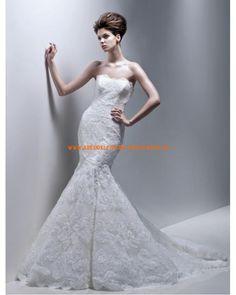 2013 Romantische Brautkleider Meerjungfrau aus Satin mit Spitze