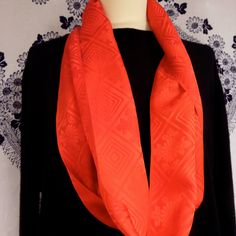 "S103  Silk Satin ""TWISTR"" Loop Scarf;Vivid Luxury; SCARLET RED;42""/106 by LizzieHuxtable on Etsy"