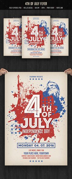 Buy of July Flyer Template by creativeartx on GraphicRiver. of July Flyer Template Fully layered 1 . Happy Fourth Of July, 4th Of July, American Party, American Flag, Event Flyer Templates, Event Flyers, Patriotic Party, Sale Banner, Party Poster