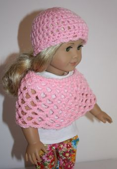 American Girl Doll Clothes Crochet Hat and Capelet by FrogBlossoms, $16.00