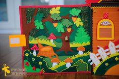 Мухоморы и грибы на липучке, желуди на крючках, ягодки на петельках, а на дереве сидит чудесная сова (бубенчик)