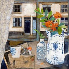 Art Gallery specialises in British century Modern Art and contemporary Fine Art, Art Prints and quality art pottery and studio ceramics. Rachel Grant, Art Grants, Beautiful Collage, Still Life Art, Naive Art, Pottery Art, Painting Inspiration, Collage Art, Painting & Drawing