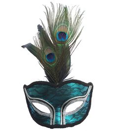 Maker's Halloween Lace Peacock Mask With Feathers-Turquoise & Black