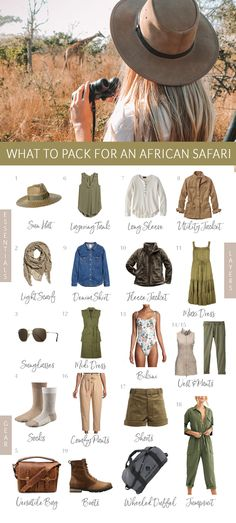 What to Wear + Pack for an African Safari // Safari Style Outfit Ideas A cute safari style means comfortable layers that will keep you warm. Here's my ultimate safari packing list, plus what to expect on an African safari! Safari Chic, Moda Safari, Safari Outfit Women, Safari Outfits, Safari Clothes, Vogue Paris, Skinny Jeans Kombinieren, Pinup, South Africa Safari
