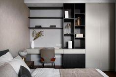 DE&DE/Gorgeous minimalism with wooden accents Home Office Design, House Design, Minimalist Apartment, Floor To Ceiling Windows, Cabinet Design, Future House, Room Inspiration, Bedroom Decor, Interior Design