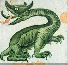 Arts and Crafts Dragon tile by William Frend De Morgan
