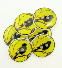 Handmade bird silhouette yellow buttons