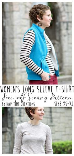 Long Sleeve T-Shirt Pattern FREE size xs-xl found on Nap-Time Creations - Women Long Sleeve Shirts - Ideas of Women Long Sleeve Shirts Sewing Shirts, Sewing Clothes, Sewing Basics, Sewing For Beginners, Basic Sewing, Sewing Tips, Sewing Patterns Free, Free Sewing, Free Pattern