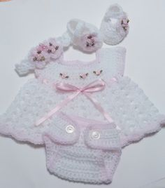 THIS BEAUTIFUL NEWBORN BABY DRESS SET WAS MADE WITH TOP QUALITY, ULTRA SOFT BABY YARNS. THE PERFECT BABY SHOWER GIFT OR TAKE BABY HOME LAYETTE  .  NEWBORN DRESS SET IS SO FRILLY WITH SPRINGTIME...@ artfire