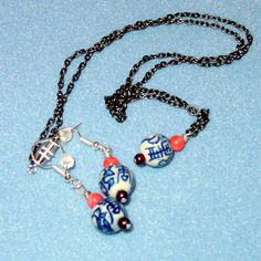 Delft Bead Porcelain Pendant Bearing Chinese Fu Symbol for Long Life with Matching Earrings, coral beads (sold, 2010) bordeauxlanestudio.etsy.com