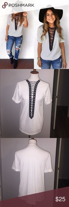 Lace up T Shirts now available Colors available will be:                                 WHITE and HEATHER GRAY size M,L,XL                   65% cotton 35% poly Comment on the post and I'll let you know when it is available!!!! Happy Poshing!!❤️ PRICE FIRM WILL NOT ACCEPT ANY OFFERS MORE SIZES COMING Tops Tees - Short Sleeve