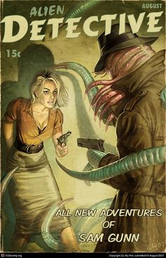 Detective pulp cover art by Aly Fell. Sci Fi Horror, Arte Horror, Horror Art, Gothic Horror, Hp Lovecraft, Lovecraft Cthulhu, Fantasy Kunst, Fantasy Art, Detective