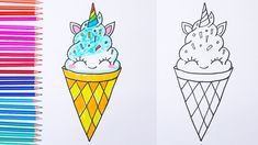 ice unicorn cream draw easy drawings drawing