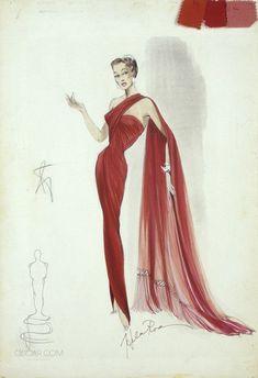 Helen Rose - Esquisses et Croquis - Costumes - Robe Rouge - Esther Williams - Désir d'Amour - 1953