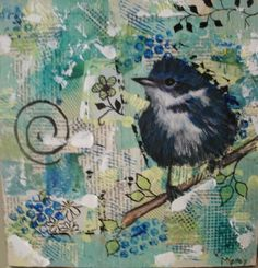 Blue Bird Mixed Media by Bella Chic Cottage