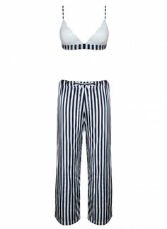 4e4d2ace6324d Fleur of England Brighton striped silk pyjamas and soft bra Silk Pajamas