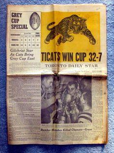 Hamilton Tiger-Cats Win Grey Cup 1957 Toronto Star Special Section Grey Cup, Canadian Football, Toronto Star, Daily Star, Cat Memorial, Sports Teams, Hamilton, Canada, Stars