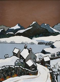 David BARNES artist, paintings and art at the Red Rag British Art Gallery Wow Painting, Painting Snow, Winter Painting, Abstract Landscape Painting, Landscape Art, Norman Cornish, Art For Art Sake, Contemporary Artists, Snow Pictures
