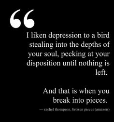 'I liken depression to a bird stealing into the depths of your soul, pecking at your disposition until nothing is left. And that's when you break into pieces.' http://RachelintheOC.com #depression #mentalhealth