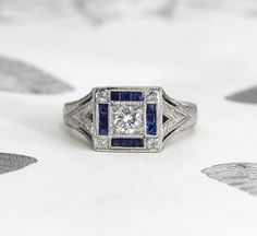 Art Deco Platinum Diamond & Sapphire Engagement Ring, Elegant Antique Engraved, French Cut Sapphires, Circa 1930, Bride Bridal Jewelry