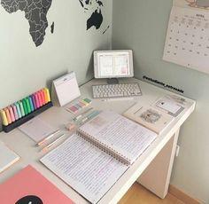 Study To Success Study Table Organization, Stationary Organization, College Desk Organization, Study Room Decor, Room Ideas Bedroom, Desk Inspiration, Study Space, Aesthetic Room Decor, Study Motivation