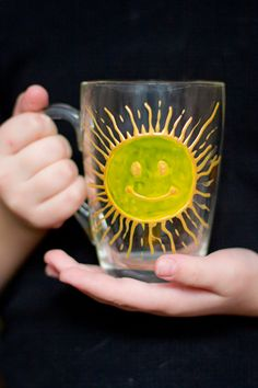 Hand painted mug with big yellow sun. Stained-glass view cup. Kitchen decor. Engagement gifts. See-through mug. Transparent positive cup. - pinned by pin4etsy.com