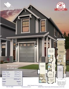This 15 foot wide Craftsman house plan has all of the comfort of a much larger home. This Craftsman design is City of Portland approved and ready to build, and at only 15 feet wide it can fit nearly any lot. Cottage House Plans, New House Plans, House Floor Plans, Narrow Lot House Plans, Basement House Plans, Story House, Tiny House Design, California Homes, Architecture Plan