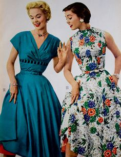 Sears catalog 1955 day dress party floral blue white red green teal turquoise short sleeves sleeveless full skirt belt mid 50s vintage fashion style models magazine catalogue