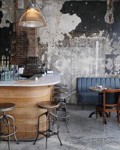 More Than Photography Industrial Restaurant Design, Industrial Cafe, Industrial Living, Coffee Shop Interior Design, Coffee Shop Design, Cafe Interior, Distressed Walls, Cozy Cafe, Shop Interiors