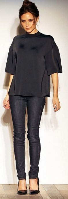 Victoria Beckham: Jeans and shirt – Victoria Beckham Collection