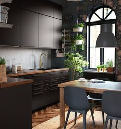IKEA - ODGER, Chair, blue, Comfortable to sit on thanks to the bowl-shaped seat and rounded shape of the backrest. Loft Interior, Home Interior Design, Scandinavian Style Home, Kitchen Units, Home Trends, Cuisines Design, Black Kitchens, Apartment Design, Kitchen