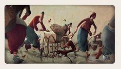 UNE BIBLE by Rébecca Dautremer (b1971; Gap, South of France, Hautes Alpes) http://www.galerie9art.fr/index.php?artist=388