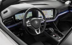 Download wallpapers 4k, Volkswagen Touareg, interior, 2019 cars, dashboard, SUVs, 2019 Volkswagen Touareg, german cars, VW Touareg, Volkswagen