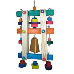 Bell Tower Bird Toy with a Real Cow Bell for Large Parrots