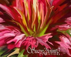 """Beauty Within"" from Suzy2.0: Floral Digital Paintings, #macro, #floral, #daylily, #red, #art"