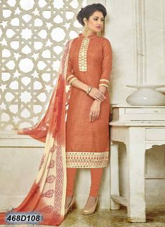 Marvelous Orange Coloured Bhagalpuri Cotton Unstitched Salwar Suit