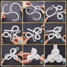 Triskelion Knot - Step-by-Step (image) Instructions - Written Instructions Feat. in my book Decorative Fusion Knots - available on Amazon.com https://www.facebook.com/tyingitalltogether/photos/a.396687930378207.94912.196001100446892/1295710910475900/?type=3&theater