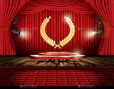Red Stage Curtain with Spotlights, Seats and Golden Laurel Wreath. Vector illustration. Theater, Opera or Cinema Scene.         Rate and Comment my IllustrationsThank You.