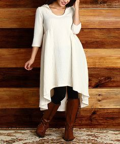 Another great find on #zulily! Winter White Ribbed-Knit Hi-Low Dress - Plus #zulilyfinds
