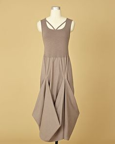 love the volume at the bottom of the skirt - cute summer dress - Maxi Tank Dress With Draped Skirt