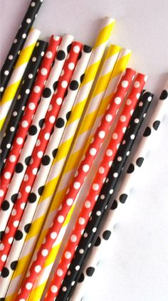 25 Mickey Mouse Paper Straws Red and Black by TheSimplyChicShop, $4.00