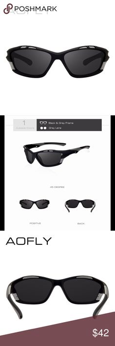AOFLY Men's Sport Sunglasses High quality material black and gray plastic frame with gray lenses. Authentic sunglasses produced by company AOFLY including an original leather case with cleaning cloth. If you would like a different color, please feel free to request it and we will get it for you. AOFLY Accessories Sunglasses