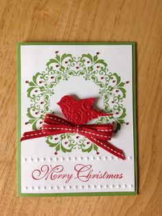 Stampin Up handmade Christmas card - wreath and red bird