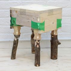product designer micaella pedros' 'joining bottles' project uses shrunken plastic bottles as an experimental wood-joining technique. through the application of heat, the simple throw-away item i. Plastic Drink Bottles, Plastic Bottle Art, Recycled Furniture, Wood Furniture, Wood Joining, Plastic Recycling, Bokashi, Prego, Royal College Of Art