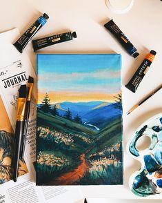 Acrylic Premium Artist Paint Set, Tubes - Set of 60 Acrylic Paint Set, Acrylic Art, Sunset Acrylic Painting, Small Canvas Art, Mini Canvas Art, Aesthetic Painting, Aesthetic Art, Arte Sketchbook, Guache