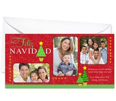 Photo Cards : Spanish Feliz Navidad Christmas Holiday Photo Card Template