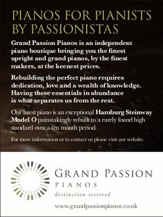 Grand Passion Pianos recent print advertisement